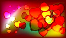 Free Shiny Vector Hearts Royalty Free Stock Photography - 17866967