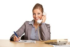 Businesswoman In Suit Talking On The Phone Royalty Free Stock Images