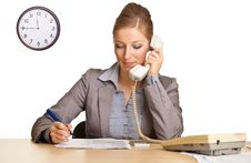 Businesswoman In Suit Talking On The Phone Royalty Free Stock Photography