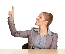 Free Businesswoman In Suit Pointing Hand Royalty Free Stock Photography - 17867187