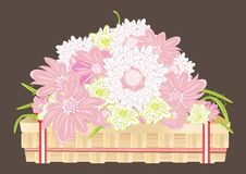 Free Chrysanthemum Flowers In A Wooden Tray Royalty Free Stock Photography - 17867277