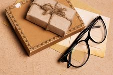 Free Present Gift From Grunge Paper With Glasses Royalty Free Stock Photo - 17867325