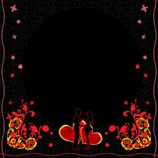 Free Ornate Flower Cartd With Hearts And Couple Stock Photo - 17867820