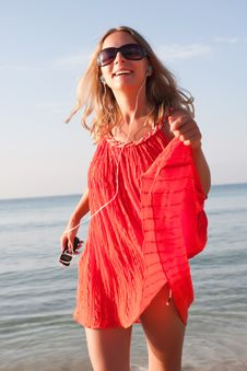 Free Woman Dancing On The Beach Stock Photo - 17867840