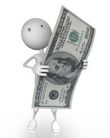 Free 3d Man Holding 100 Dollar Royalty Free Stock Photo - 17867865