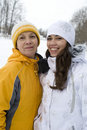 Free Two Happy Smiling Women In Winter Jackets And Caps Royalty Free Stock Image - 17870746