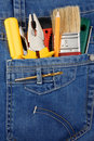 Free Tools And Instruments In Blue Jeans Stock Images - 17876994
