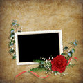 Free Vintage Card For The Holiday With Red Rose Stock Photography - 17878662