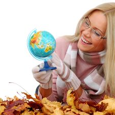 Free Woman Take Globe In Hands Stock Photos - 17870103