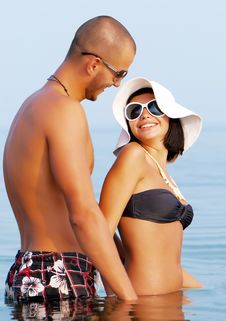 Happy Young Couple En Vacation Stock Photo