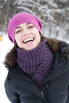 Free The Young Woman The Brunette In A Violet Cap Laugh Royalty Free Stock Image - 17871066
