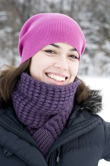 The Young Happy Woman The Brunette In A Pink Cap Royalty Free Stock Images