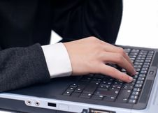 Typing At Laptop Stock Images