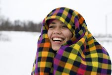 Free The Young Happy Woman Laughs Having Taken Cover A Stock Photo - 17871520