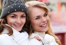 Happy Girls Twins, In The Street Royalty Free Stock Images