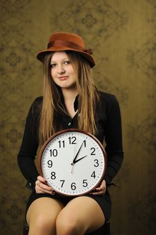 Free Woman With A Big Clock Stock Images - 17872844