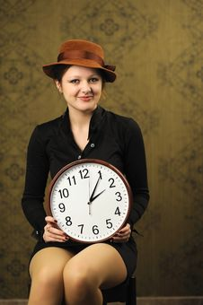 Free Woman With A Big Clock Stock Photography - 17872852