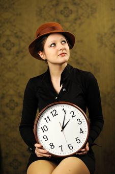 Free Woman With A Big Clock Royalty Free Stock Image - 17872866