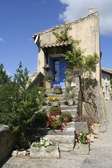 Free Old Entrance And Stairs With Blue Door, Provence, Stock Image - 17872921