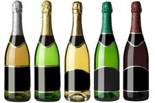 Free Set 5 Bottles With Black Labels Royalty Free Stock Photography - 17872947