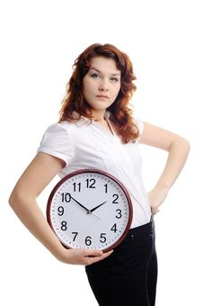 Free Woman With Clock Royalty Free Stock Photography - 17872977