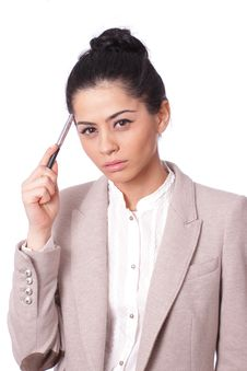 Free Thoughtful Business Woman Stock Photography - 17872992