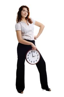 Free Woman With Clock Stock Photography - 17873022