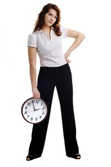 Free Woman With Clock Royalty Free Stock Image - 17873026