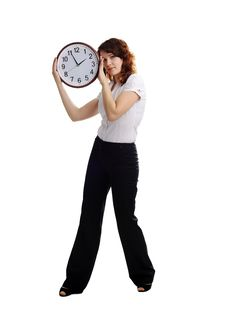 Free Woman With Clock Royalty Free Stock Photos - 17873028