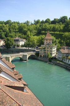 Medieval Houses Lining, Bern Royalty Free Stock Images