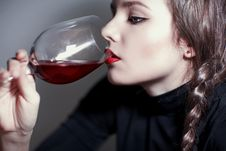 Free Young Beautiful Girl Testing  Red Wine Royalty Free Stock Photography - 17873147