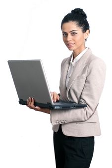 Free Young Business Woman Holding A Laptop Stock Photo - 17873260