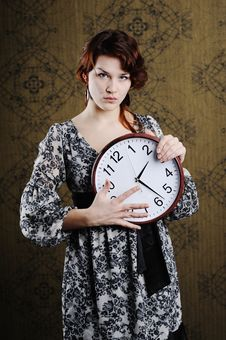 Free Woman With Clock Royalty Free Stock Photos - 17873288