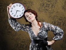 Free Woman With Clock Stock Image - 17873301