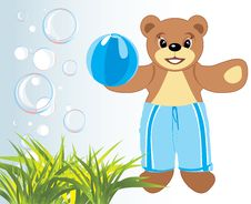 Free Bruin With Ball Among Grass And Bubbles Royalty Free Stock Images - 17873399