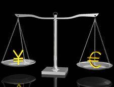 Free Euro And Yen On Balance Stock Photo - 17873420