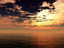 Free Ocean Sunset Royalty Free Stock Photography - 17873687