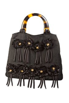 Free Female Black Handbag With Decorative Flowers Royalty Free Stock Images - 17874009