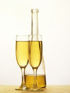 Free Champagne - Bottle And Glass Royalty Free Stock Image - 17874966
