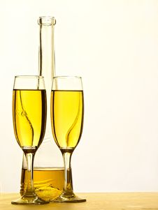 Free Champagne - Bottle And Glass Stock Photos - 17874973