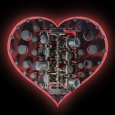 Free Mechanical Heart V8 On Black 3d Royalty Free Stock Image - 17874996