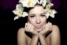 Free Beautiful Young Woman Face With Flowers Stock Photos - 17876063