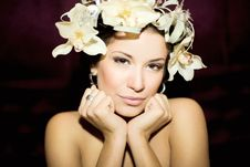 Free Attractive Young Woman Face With Flowers Royalty Free Stock Photo - 17876115