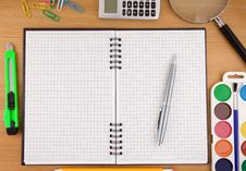 Free School Accessories And Notebook On Table Stock Images - 17876934