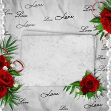 Vintage Card For The Holiday With Red Rose Stock Photos