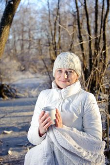 Woman In The Winter Forest Stock Photos