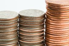 Free Stacked Dimes And Pennies Royalty Free Stock Image - 17879056