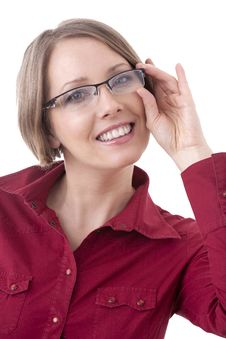 Free Woman In Red Glasses Stock Photos - 17879413