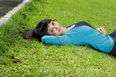Free Young Beautiful Girl Smiling And Lying Down Stock Photos - 17879523