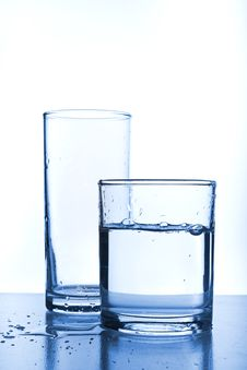 Free Two Glasses Of Water. Full And Empty Stock Image - 17879671